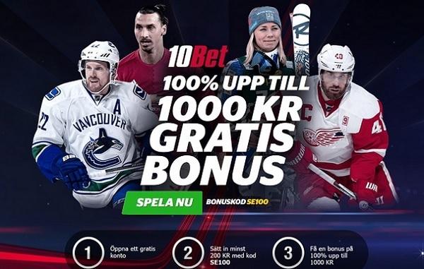 10Bet odds bonus på 1000 kr med bonuskod