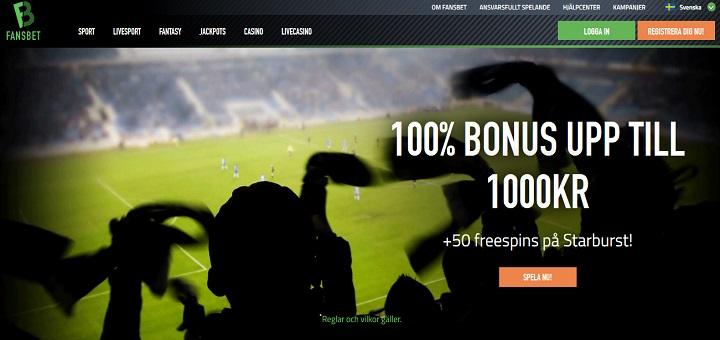 Fansbet bonus på 100% upp till 1000 kr