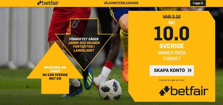 Speltips Sverige - Turkiet 10 september 2018