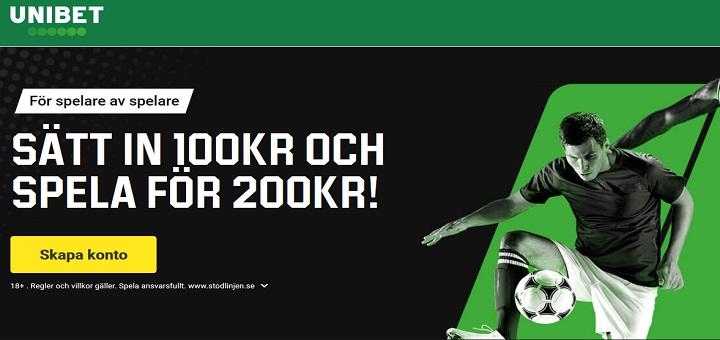 Ny Unibet bonus på 100% upp till 100 kr