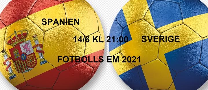 Speltips Spanien - Sverige Fotbolls EM 14/6 2021