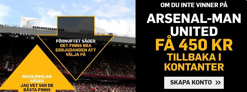Betfair har en oddsbörs och i den ger nya de nya kunder 450 kr riskfritt  på matchen Arsenal - Man Utd den 10 mars 2019
