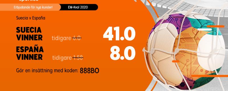 Superodds på Sverige Spanien hos 888Sport
